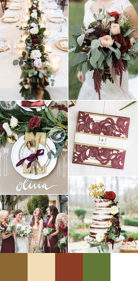Red, Metallic Copper and Greenery Wedding Color Ideas You Deserve to Try