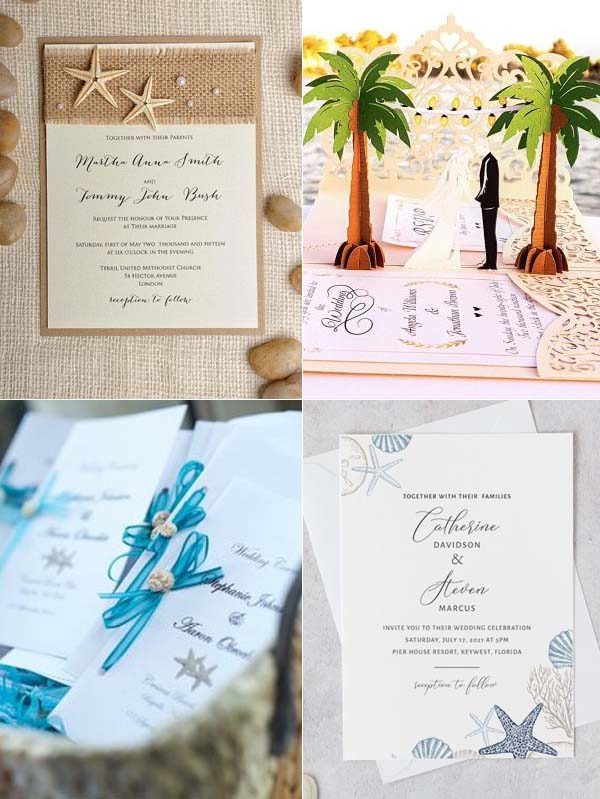 Send out the specialized beach wedding invitations to inform your guests it's a beach wedding