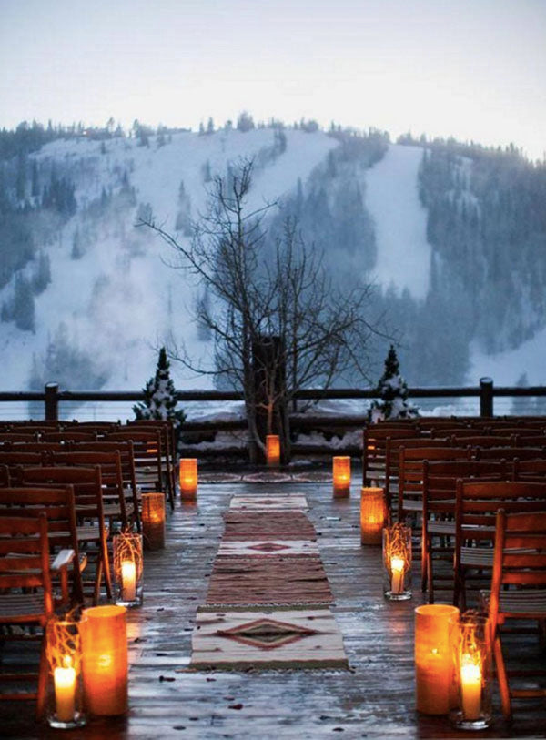 Beautiful Mountain Outdoor Wedding Aisle Way with Lantern Candles