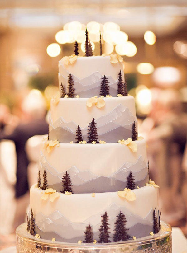 Beautiful Mountain Wedding Cake Ideas with Forest Trees