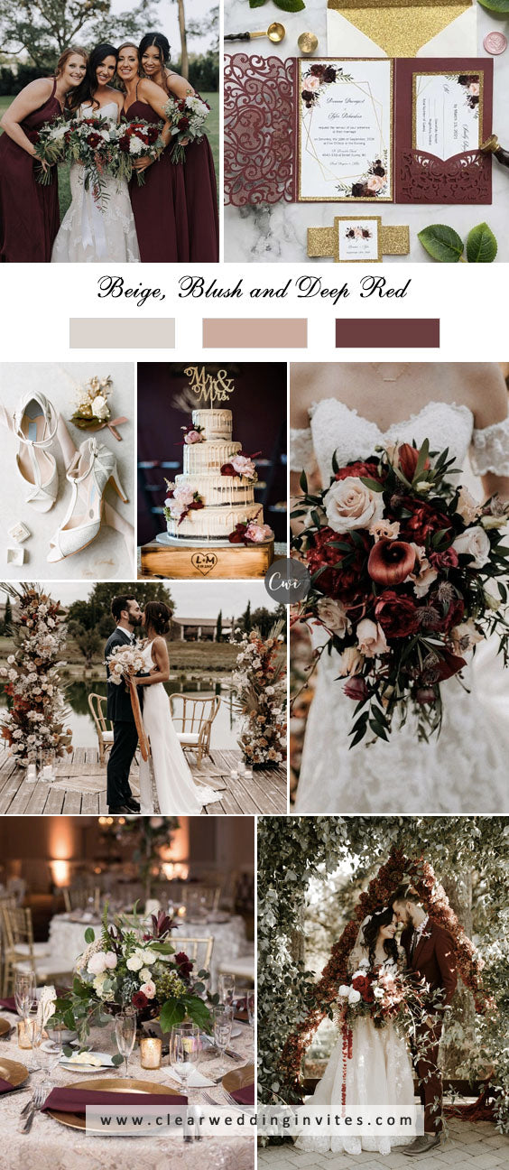 Beige, Blush and Deep Red Greenery breathtaking NEUTRAL WEDDING COLOR PALETTE IDEAS
