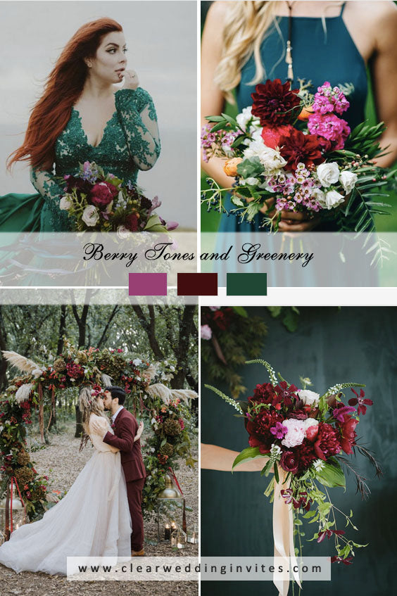 Berry tones and greenery Great Wedding Color Palettes For Spring & Summer 2022