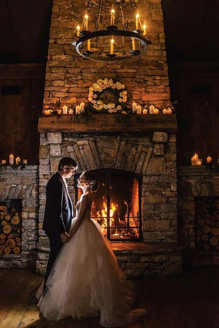 BY THE FIRE When you're planning a woods-themed wedding