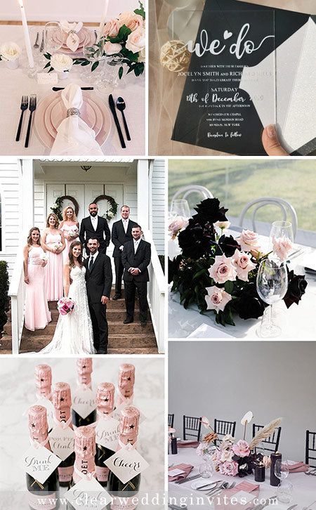 6 Romantic Pink Wedding Colors and Invitations in Metallic and Glitter