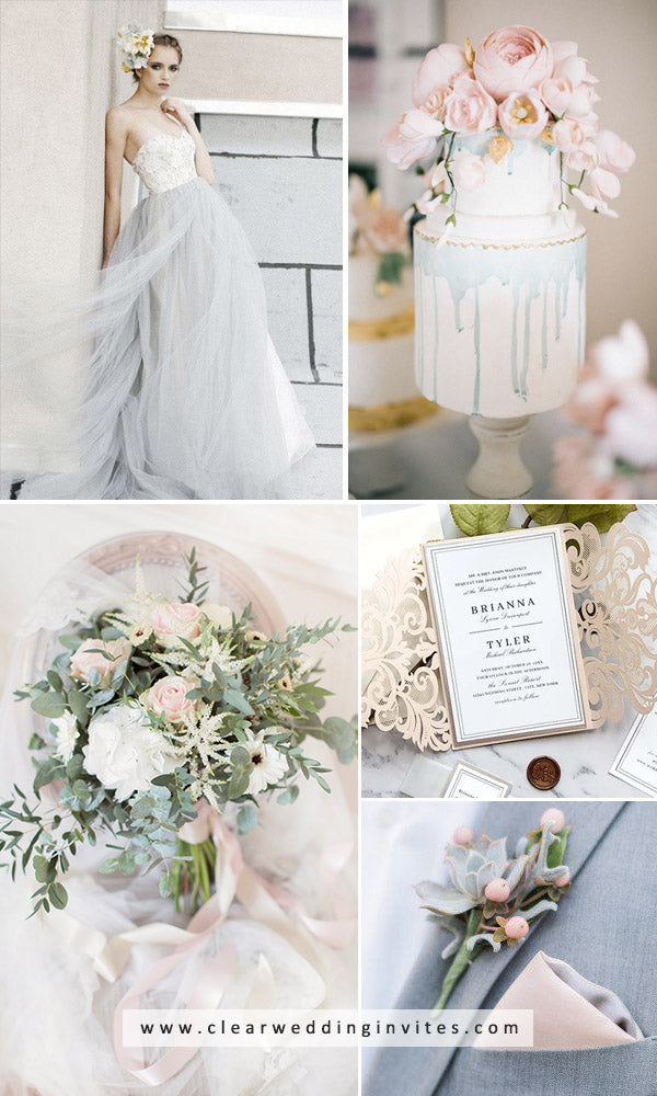 Blue, Grey and blush Pink wedding color ideas