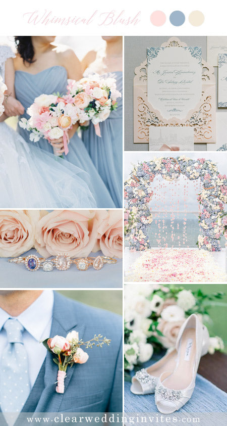 Blush Pink and dusty blue Wedding Color Ideas with Fairytale Vibe