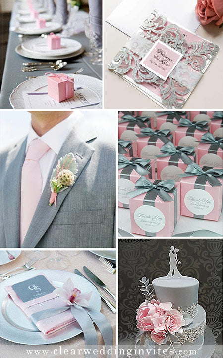 Romantic Pink and Gray Wedding Colors and Invitations in Metallic and Glitter