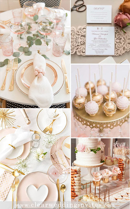 Romantic Blush Pink and Gold Wedding Colors and Invitations in Metallic and Glitter