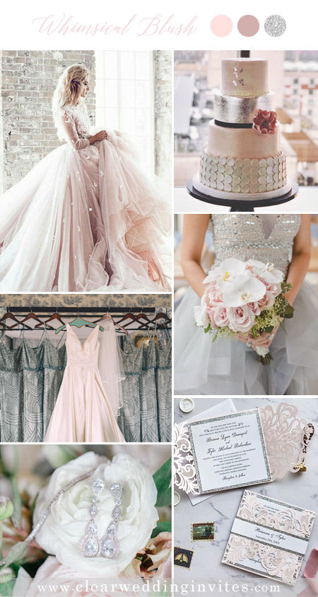 Blush, Dusty Pink and Silver Blush Pink Wedding Color Ideas with Fairytale Vibe