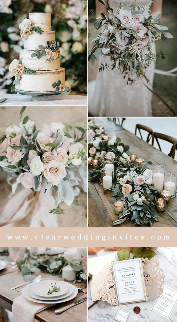 Blush Pink and Olive leave Refreshing Greenery Wedding Color Ideas to Steal