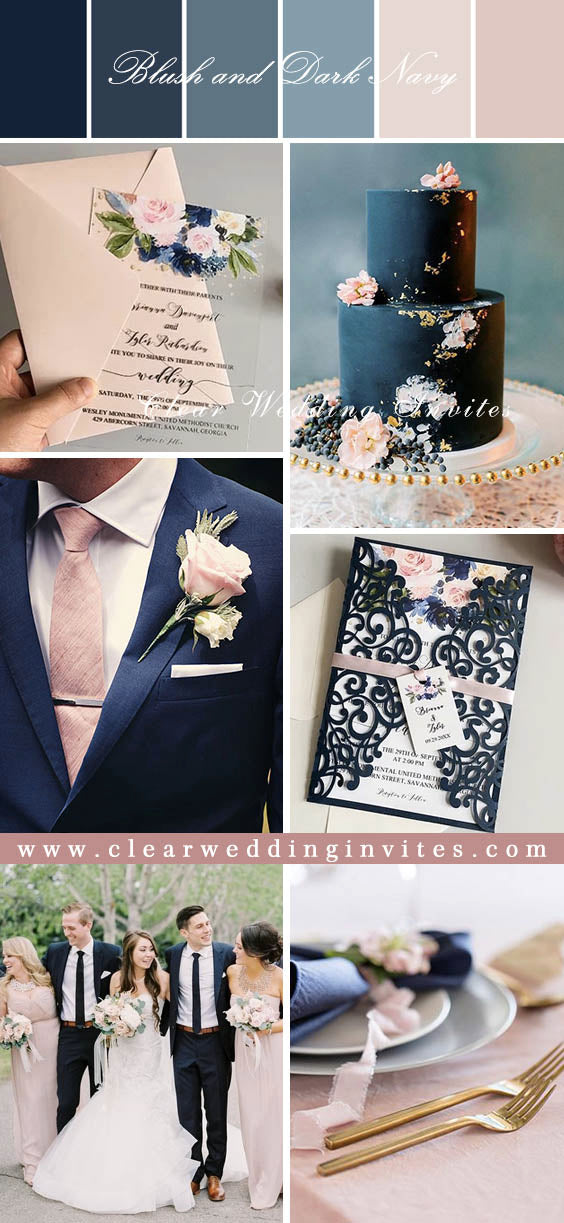Elegant Navy Blue and Blush Wedding Color Ideas and Matching Wedding Invitations