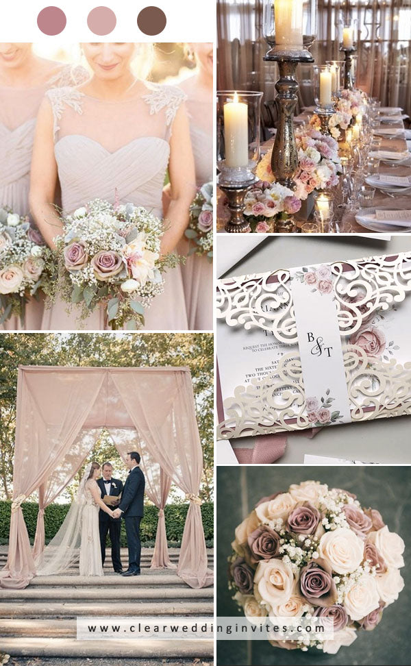 Blush, dusty rose and brown vintage romantic wedding florals and invitations