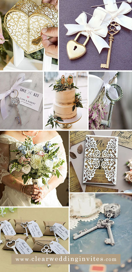 small symbols for locks and keys, can be a great way to add continuity to your wedding theme and style