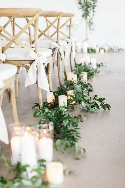 Budget Friendly Simple Outdoor Wedding Aisle with Candles Decoration Ideas