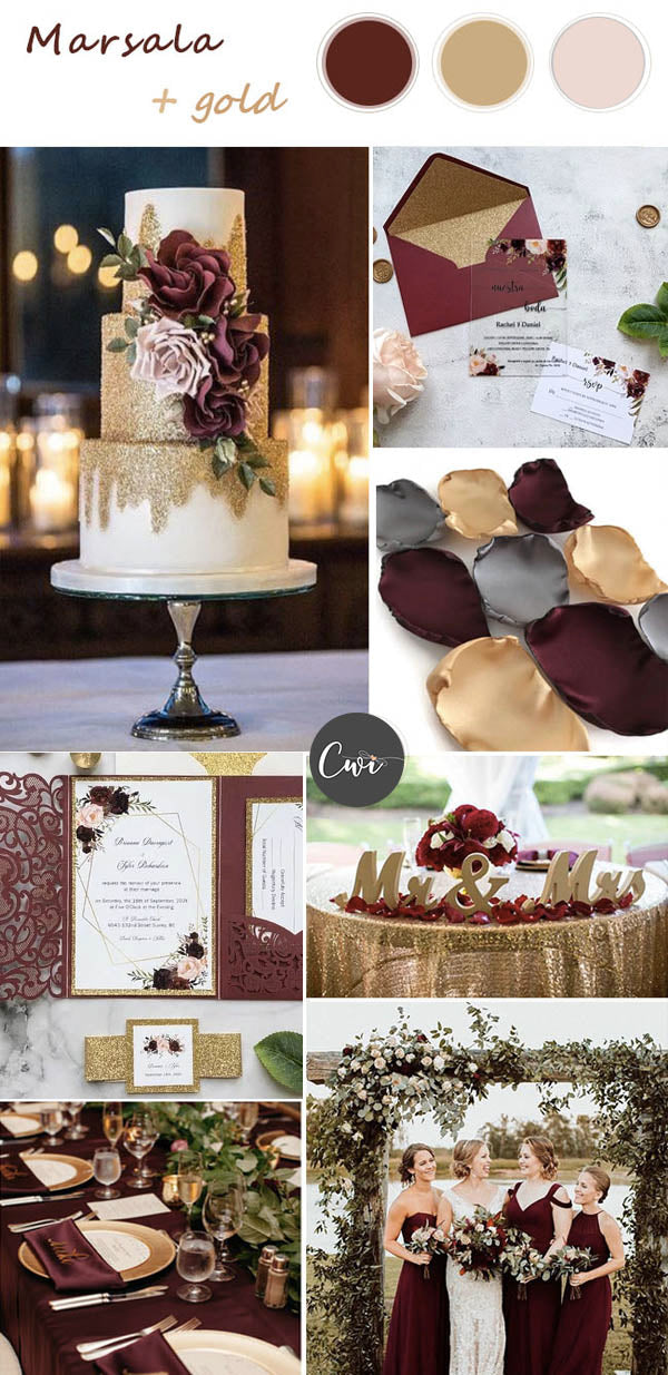 Burgundy, Blush, Gold Red Wedding Colors and Rustic Wedding Invites
