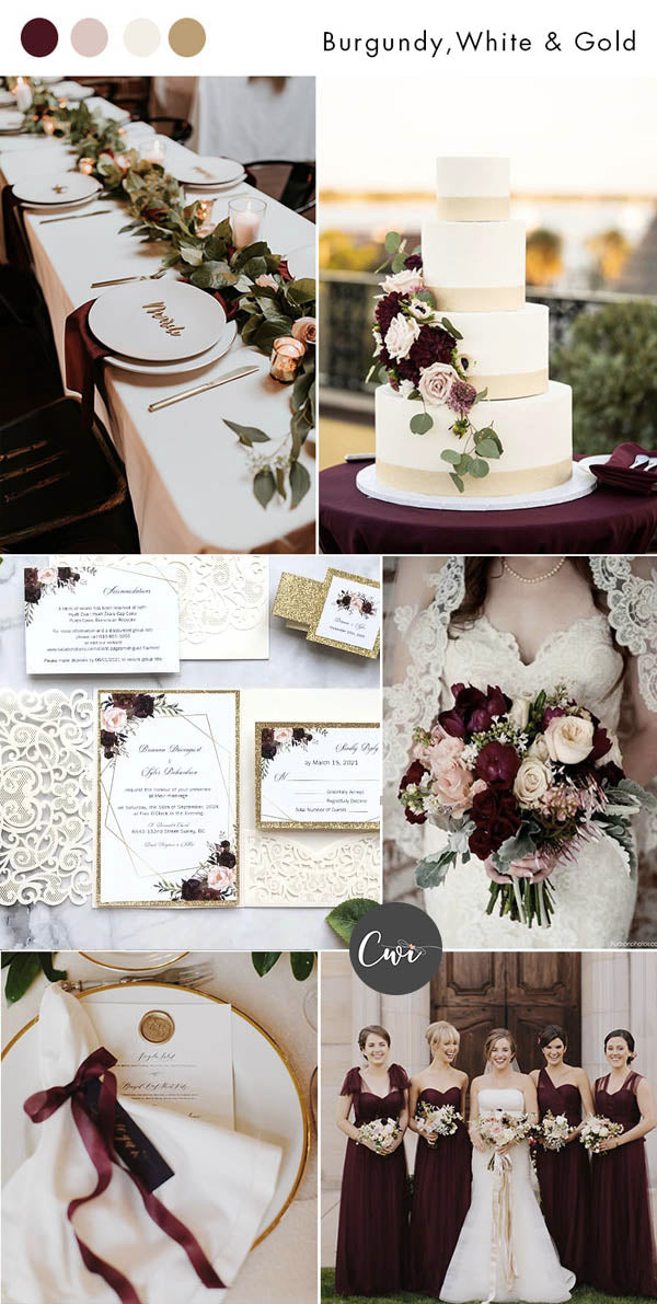 Burgundy, White and Gold Wedding Colors and Rustic Wedding Invites