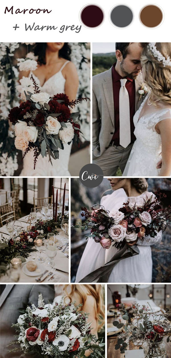 Burgundy and Gray Wedding Colors and Rustic Wedding Invites