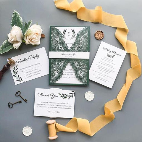 Awesome Wedding Invitations for Spring and Summer romantic and elegant wedding with gorgeous green plants