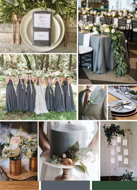 Dark Gray, Metallic Copper and Greenery Wedding Color Ideas You Deserve to Try