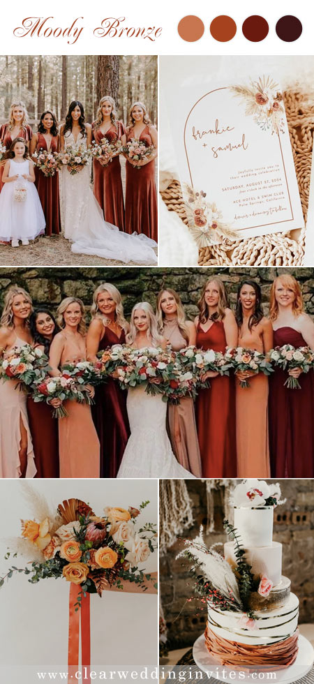 Inspirational coral and rust tone in a boho rustic wedding