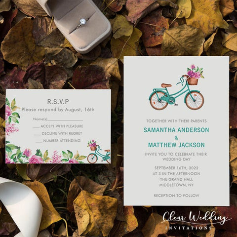 teal and fuchsia floral country bike wedding invitations CWIF31