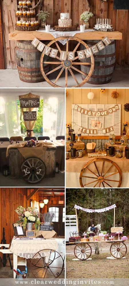 Make your dessert table, fruit table wagon stylish and different with a simple old wagon wheel.