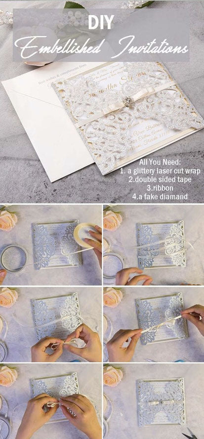 DIY TUTORIAL OF ASSEMBLE WEDDING INVITATIONS WITH EMBELLISHMENT