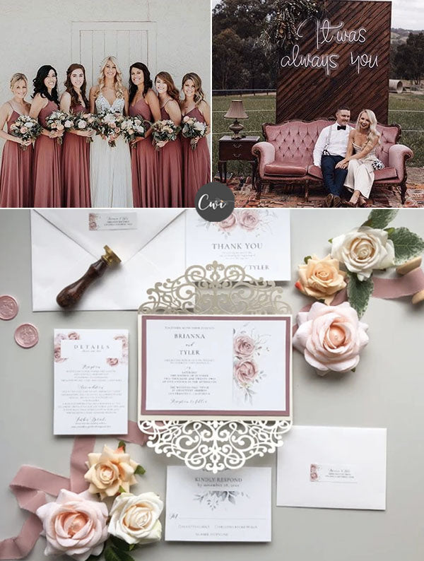 DUSTY ROSE,WINE&BROWN Unique Cozy Winter Wedding Colors To Be Stunning
