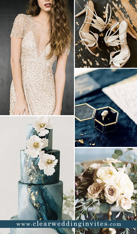 sophisticated dark teal and champagne gold vintage colors