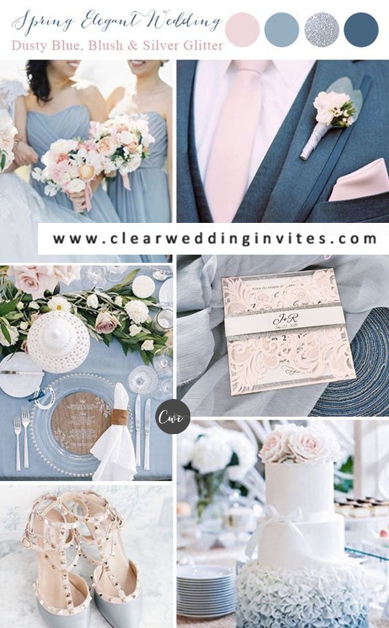 Dusty Blue and Blush Romantic Winter Wedding Color Combs for 2021