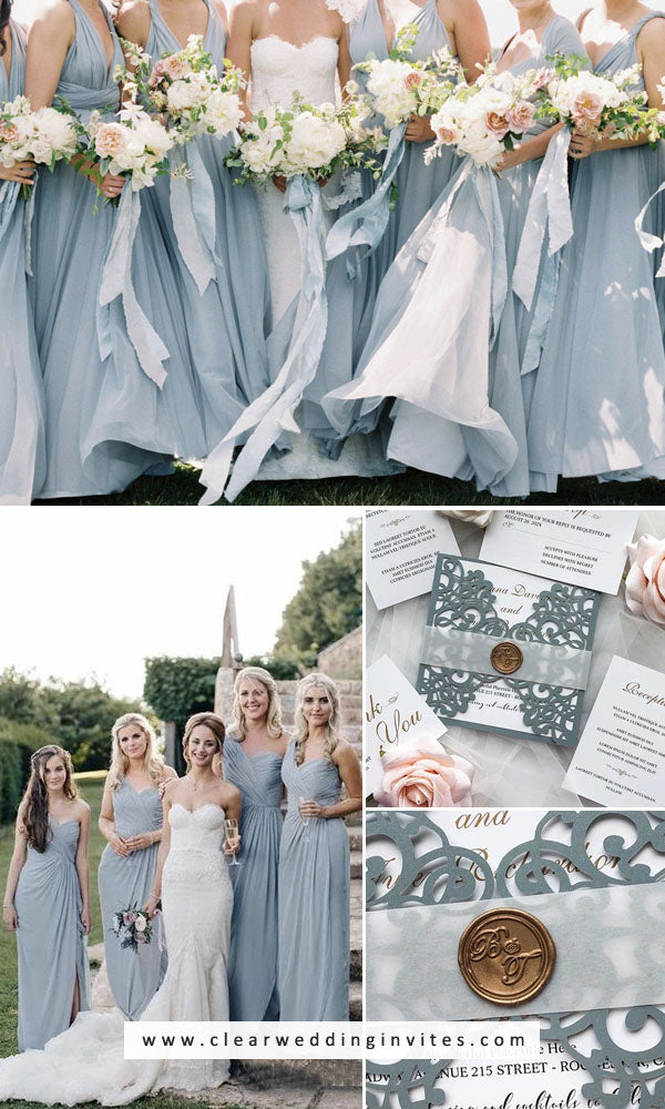 Dusty blue, Copper Gold and White bridesmaid dress and wedding invitations