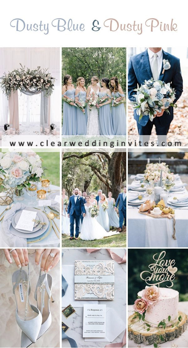 Dusty blue and dusty rose  Great Wedding Color Palettes For Spring & Summer 2022