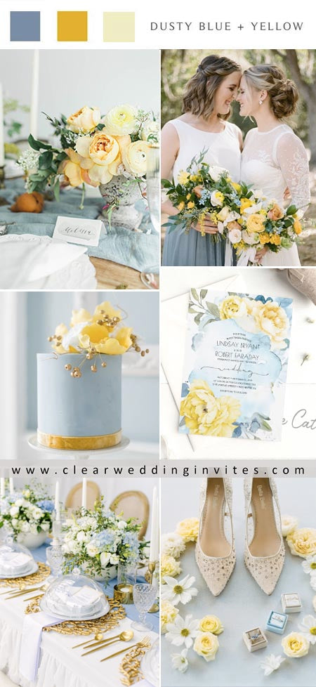 Dusty blue and sunlight yellow for Your Outdoor Weddings