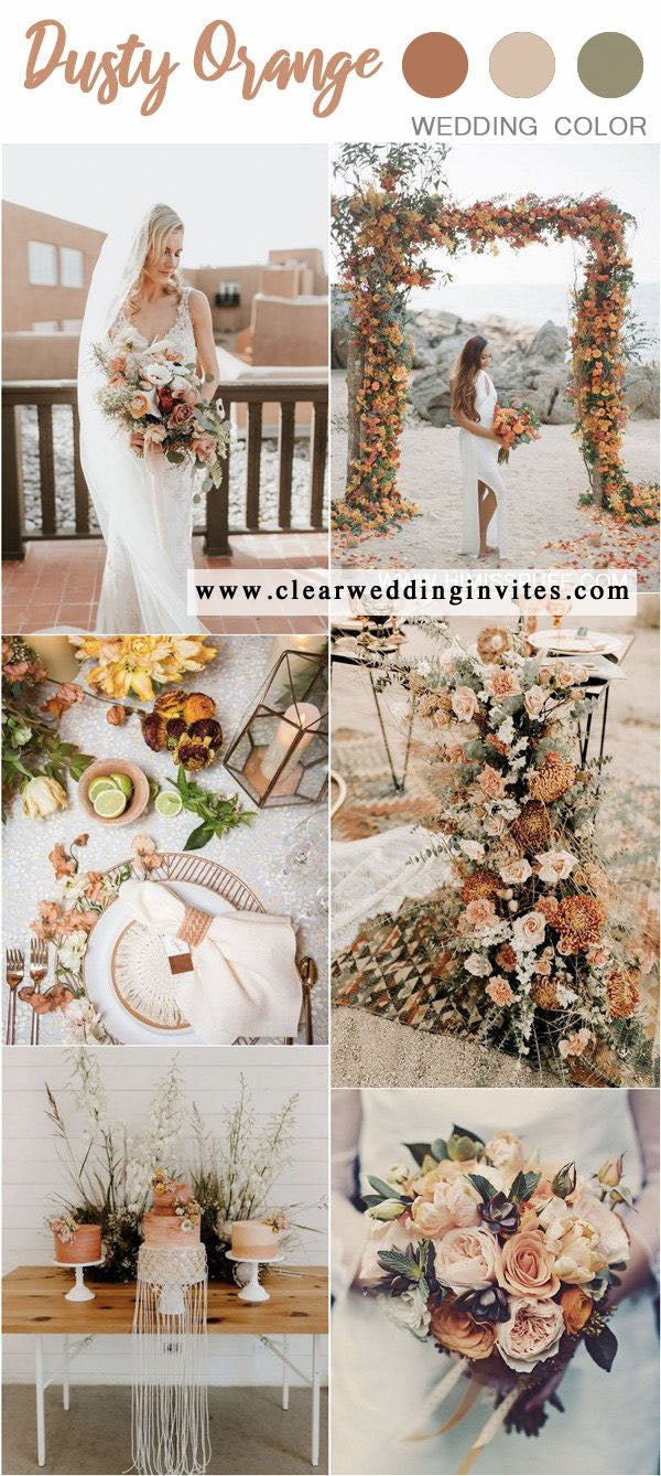 Dusty orange and sage green fall weddings are full of charm and happiness