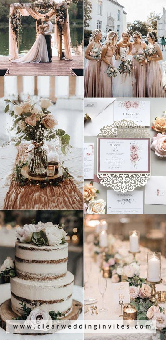 Dusty rose, blush and brown nature Earth Tone Fall Wedding Color palettes