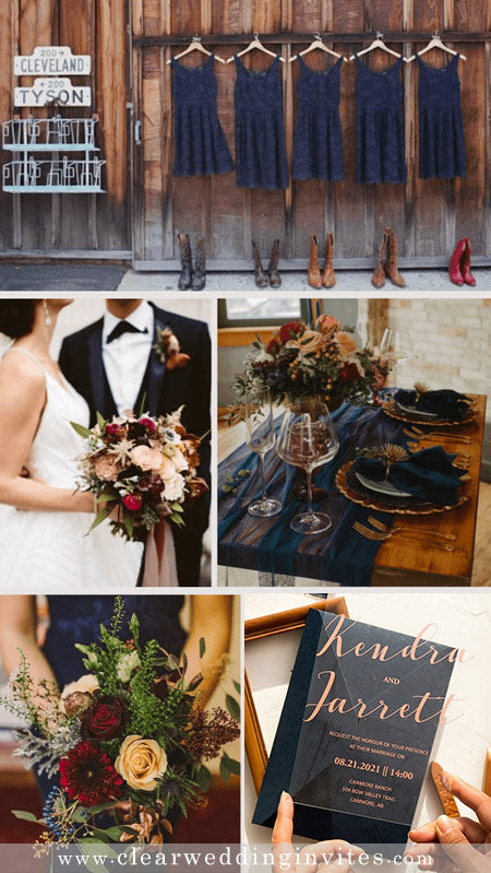 7 Early-Summer Navy Blue Wedding Colors with Matching Wedding Invitations
