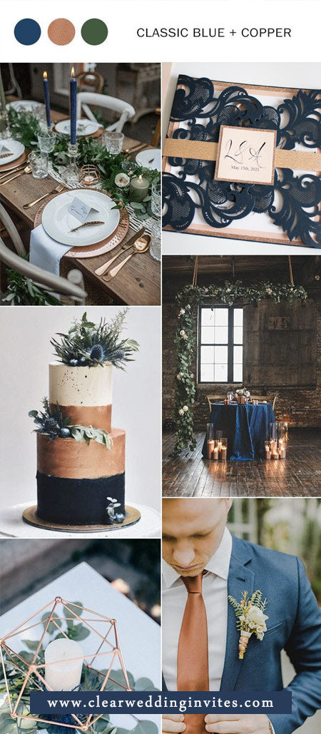 Elegant Navy Blue and Copper Wedding Color Ideas with Matched Wedding Invitations