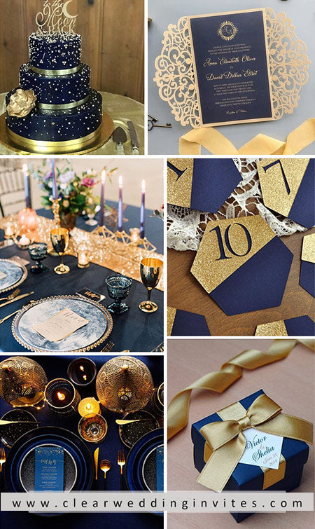 Elegant Navy Blue and Gold Wedding Color Ideas  with Matched Wedding Invitations