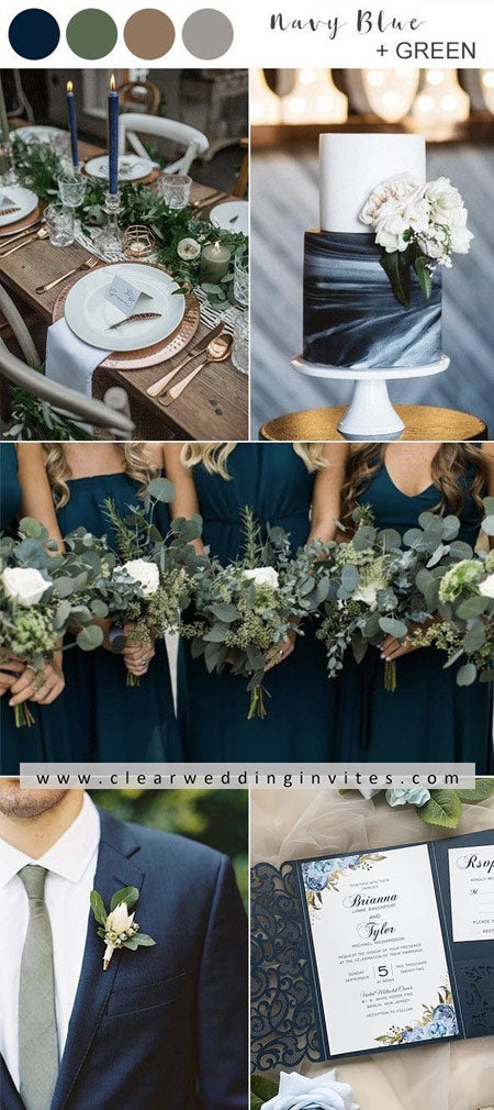 Elegant Navy Blue and Green Wedding Color Ideas with Matched Wedding Invitations
