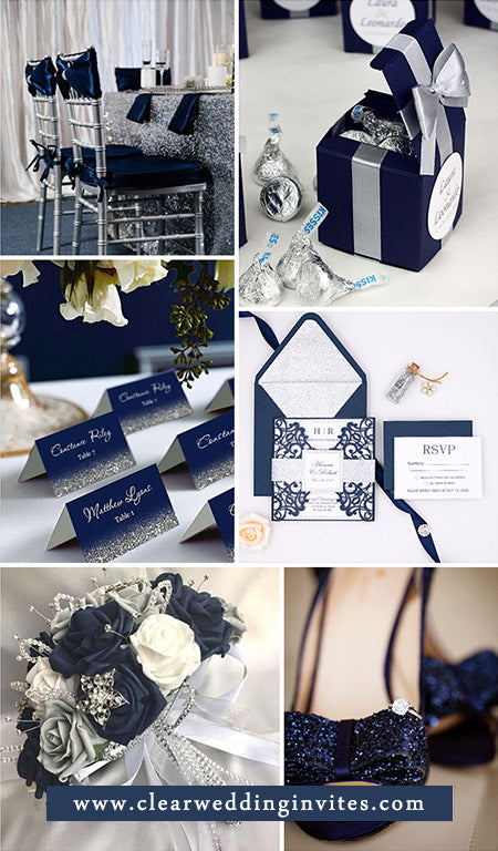 Elegant Navy Blue and Silver Wedding Color Ideas with Matched Wedding Invitations