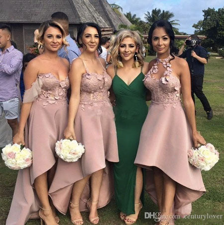 Elegant A line Pink lace Long Fitted Bridesmaid Dresses