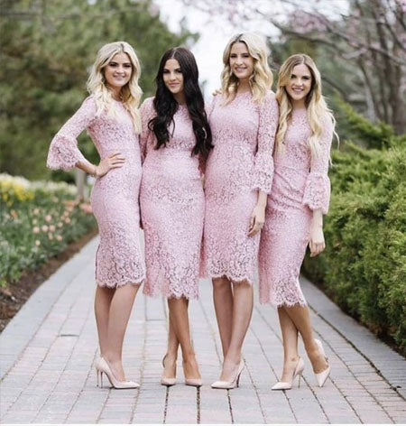 Elegant Knee-length Full Pink lace Long Sleeves Short Fitted Bridesmaid Dresses