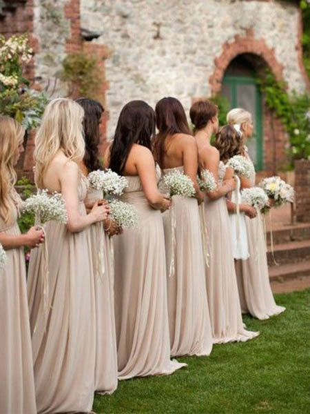Elegant and Classic White and Beige Wedding Bridesmaids Dress