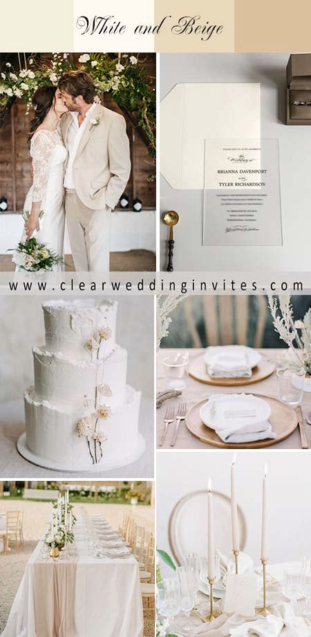 8 Elegant and Classic White and Beige Wedding Color Ideas