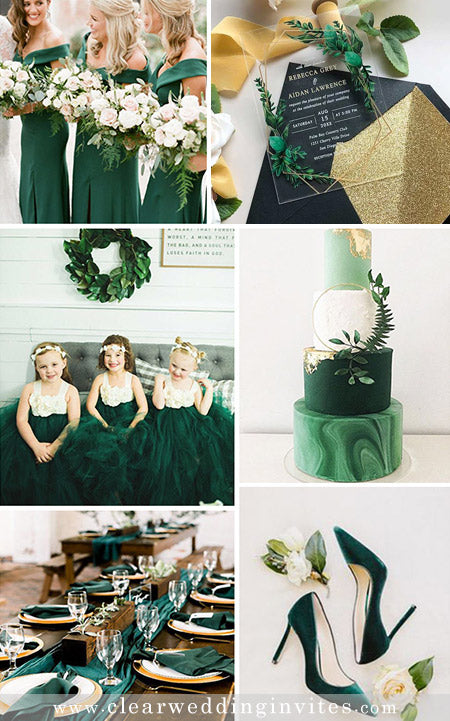 Emerald Green Wedding Color Palette and Matching Wedding Invitations