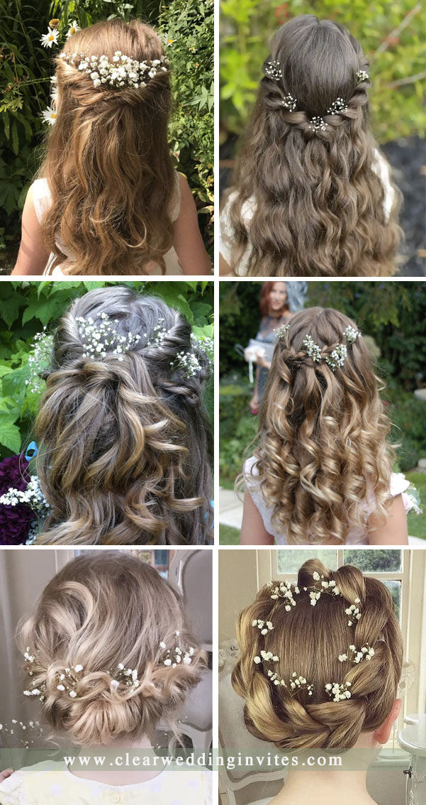 baby's breath cute flower girls hairstyle for rustic country barn wedding ideas