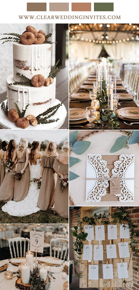 Brown and Taupe Trendy Elegant Wedding Ideas and Wedding Invitations