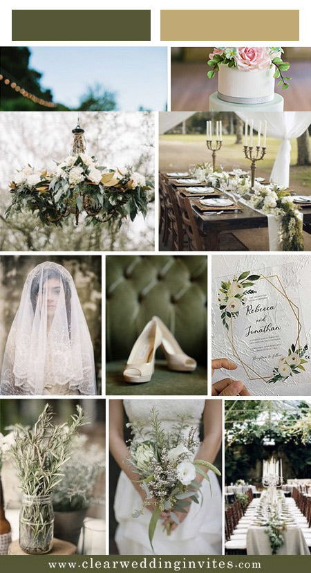 Spring Wedding Colors from Pantone: Dessert Sage Green and Matching Acrylic Invites