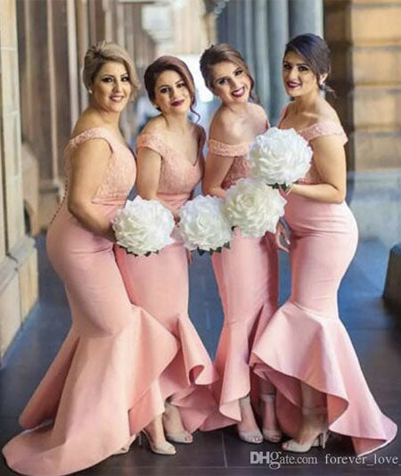 Fitted Bridesmaids Dresses Blush Pink Coral Peach Off The Shoulder Lace Top High Low Asymmetrical Skirt Bridesmaid Dress