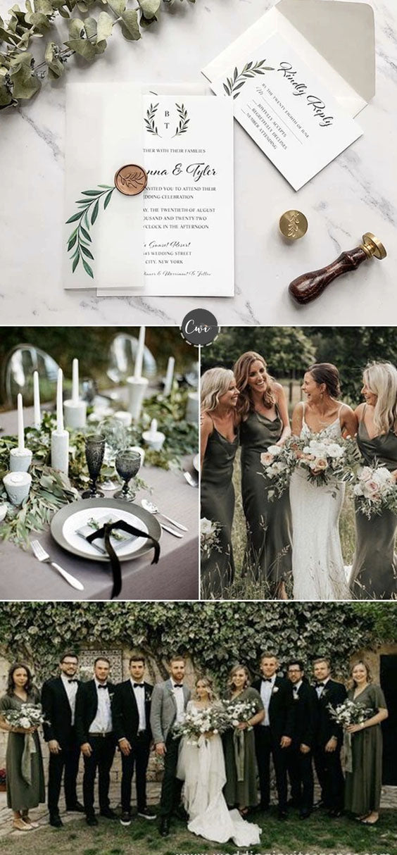 Forest Green, Black and White The Most Romantic Winter Wedding Color Combs for 2021